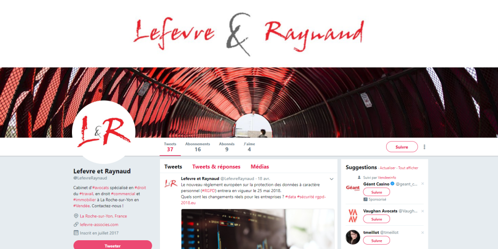 Exemple twitter Lefèvre&Raynaud
