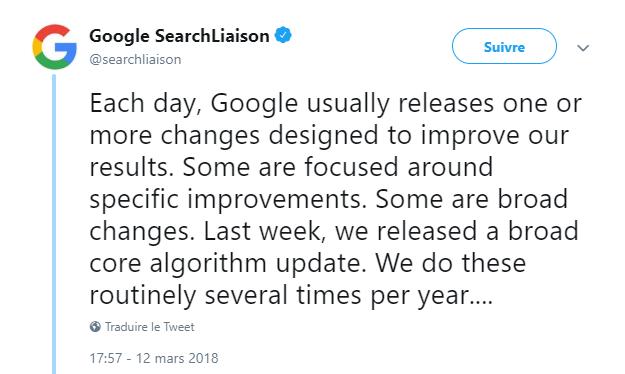 mise à jour google 2018