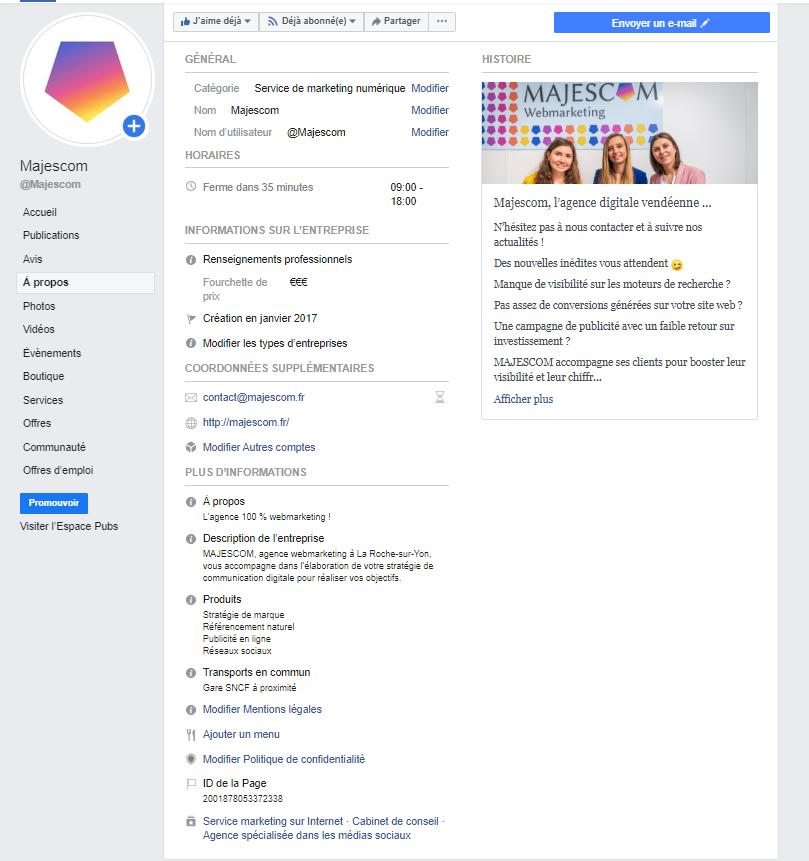 a propos page facebook majescom