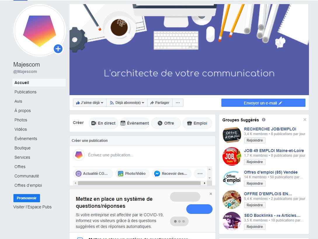 page facebook majescom