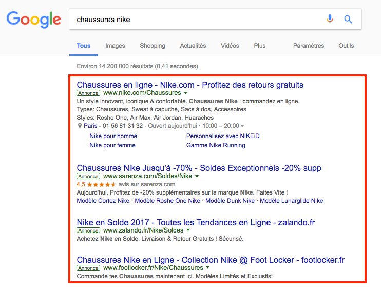 google ads nike soldes